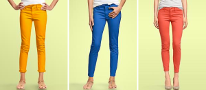photo of orange, blue and red Gap jeans
